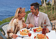 wine hospitality beach restaurant people vacation stock image