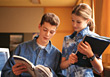 reading students learn chatting study teens stock photo