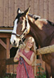 child girls horses boys active people stock photo