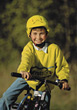 bike happy helmets boys outdoors children stock photo