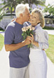 affection kissing mothersday poses bouquets people stock image