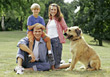 dad dogs mothers parent happiness son stock photography