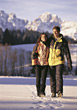 walking vacation winter snow recreation relaxing stock photo