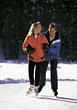 winter vacation friends ice snow couple stock photo
