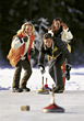 winter vacation friends curling snow sports stock image