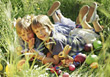 girls Easter eggs bunny boys nest stock photo