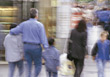 walking parents buy crowds street people stock photo