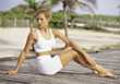 fitness exercise health stretching people blonde stock photo