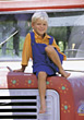 child sitting truck outdoor people boy stock photo