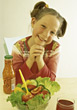 People Eating  salad raw vegetables people kid dinner stock photo