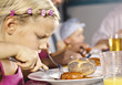 People Eating  dinner girls food eating children kids stock photography