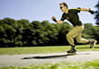 Inline exercising speed fitness rollerblading male exercise stock photo