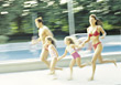 swimsuits parent recreation run pools people stock photography