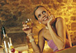 wine drinking hospitality alcoholic happiness restaurant stock image