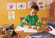 child homework write writing education young stock photo