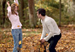 fun leaves young people playing leafs stock photography