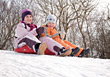 happiness fun sled people kid child stock photo