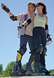 rollerblading skating people inlineskates mature rollerblades stock photo