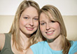 expression girls happiness young twins women stock photo