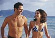 Smiling walking topless male happiness bikini adult stock photography