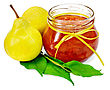 Pear Jam In A Glass Jar With A Yellow Tape, Fresh Pears, Twig With Leaves Isolated On White Background stock image