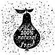Pear Silhouette Typography Design On White Grunge Background. Vintage Fruit Poster, Banner, Logo Or Label With Lettering