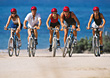 People Riding Mountain Bikes stock photography
