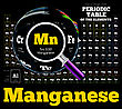 Periodic Table Of The Element. Manganese, Mn. Vector Illustration On Black