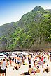 PHI-PHI ISLAND, THAILAND - JANUARY 01: Many People On The Beach On New Year Holidays, 01 January, 2013, Phi-Phi Island, Thailand. Tour To Phi-Phi Island Is One Of The Most Popular In Thailand stock photography