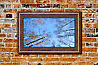 Photo In Modern Frame On The Old Brick Wall stock photography