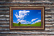 Photo In Modern Frame On The Old Wooden Wall stock photography