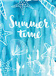 Phrase Summer Time On Blue Background. Lettering Inscription With Shells, Starfishand Corals On Watercolor Background. Vector Illustration