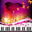 Piano keys with portrait woman, butterflies and stars