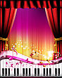 Piano keys with red curtain, butterflies and stars