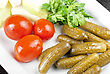 Savoury Pickled Vegetables Of Tomato, Cucumber And Cabbage stock image