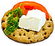 Piece Of Feta Cheese, A Slice Of Tomato, Dill On A Round Rye Crispbread stock image