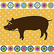 Pig Clipart Background, Retro Style Card stock illustration
