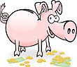 Pig-piggy Bank On The Scattered Banknotes And Coins stock illustration
