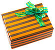 Pile Of Christmas And New Year Gift Boxes. stock photo