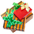 Pile Of Christmas And New Year Gift Boxes. Isolated Over White Background stock photo