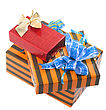 Fragment Pile Of Christmas And New Year Gift Boxes. Isolated Over White Background stock image