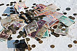 Pile Of Money Notes And Coins Of Different Countries stock image