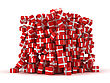 Pile Of Red Gift Boxes With Presents Over White
