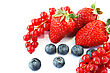 Pile Of Strawberries, Red Currants, Blueberries, Mulberries Isolated On White Background.