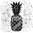 Pineapple Icon Typography Design On White Grunge Background. Vintage Fruit Poster, Banner, Logo Or Label With Lettering
