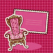 Pink Armchair And Picture On Checked Background - Card With Empty Space For Your Text