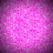 Pink Background With Geometric Shapes, Triangles. Old Mosaic. Pink-Mosaic-Banner. Geometric Hipster Red Pattern With Place For Your Text. Graphic Template Background