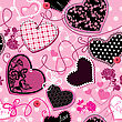 Pink And Black Hearts On A Pink Background - Seamless Pattern