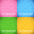 Pink, Blue, Green And Yellow Cute Vector Pattern Set With Small Hearts On Gradient Background