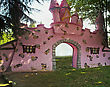 Pink castle stock photography